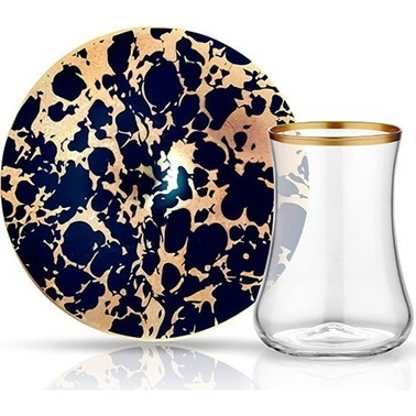 Koleksiyon Dervish Cay St 6Lı Ebru Siyah Mat Altın Renkli